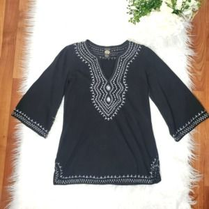 Lucky Black Boho Top XS Embroidered 3/4 Sleeves